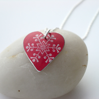 Christmas snowflake heart pendant in red