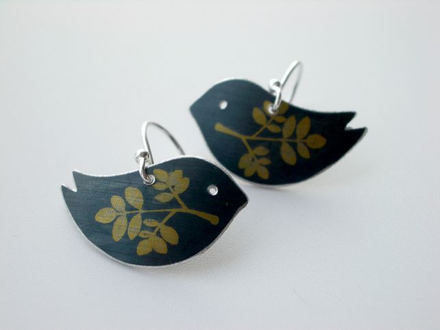 Bird earrings in charcoal black with gold leaf print