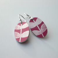 Oval leaf earrings in plum and silver