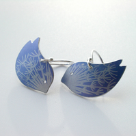 Bird earrings with dandelion clock print in blue and silver