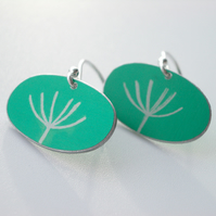 Dandelion seedhead earrings in jade green
