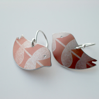Bird earrings with leaf print in dusky orange