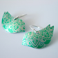 Bird earrings in green with paisley print