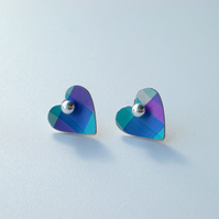 Heart studs earrings in blue and purple