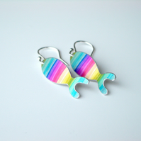Fish earrings in rainbow colours