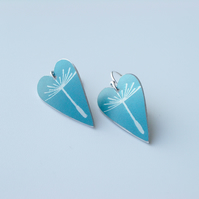 Dandelion seed heart earrings in blue