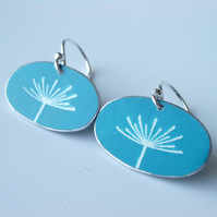 Dandelion seed earrings in blue and silver