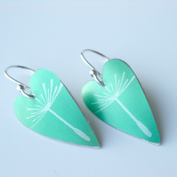 Dandelion seed heart earrings in jade green