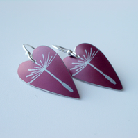 Dandelion seed heart earrings in burgundy