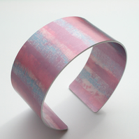 Cuff hand dyed in pink and blue