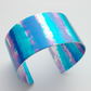 Aluminium cuff bangle in blue and pink