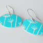 Dandelion seed oval earrings in turquoise and silver