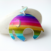 Elephant pendant necklace in rainbow stripes with heart