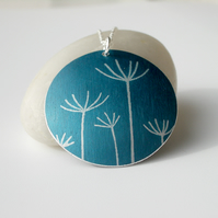 Dandelion pendant necklace in dark teal