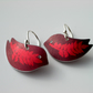 Bird earrings with leaf print in red and plum