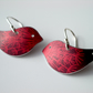 Bird earrings with dandelion seed print in red and plum