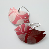 Bird earrings with autumn leaf print
