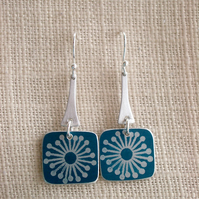 Teal square earrings with scandi starburst print