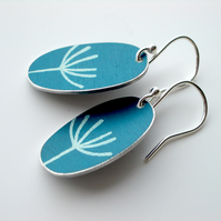 Dandelion seed oval earrings in teal blue and silver