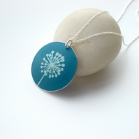 Dandelion necklace pendent in blue and silver