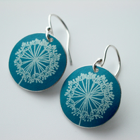 Dandelion clock earrings in blue and silver