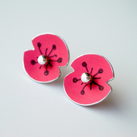 Poppy earrings studs in red