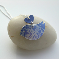 Blue bird necklace pendant with dandelion seed print and heart