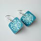 Square earrings in teal with dandelion clock print