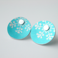 Snowflake Christmas winter earrings studs in turquoise and silver
