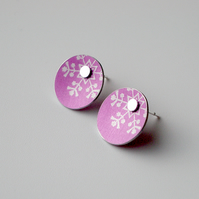 Snowflake Christmas winter earrings studs in pink and silver