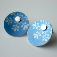 Snowflake Christmas winter earrings studs in blue and silver