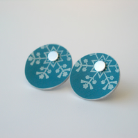 Christmas snowflake studs in teal and silver