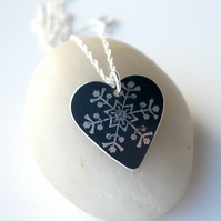 Christmas snowflake heart pendant in black