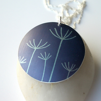 Dandelion pendant necklace in dusky purple