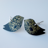 Bird earrings in black with gold dandelion clock print