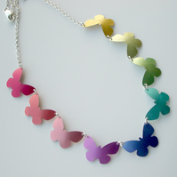 Butterfly necklace in rainbow colours