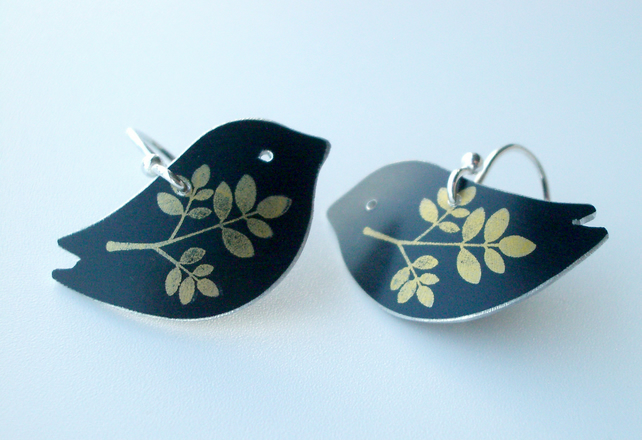 Bird earrings in black with gold leaf print