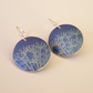 Blue dandelion seed circle earrings