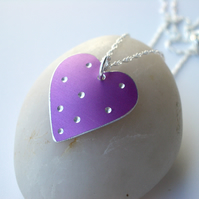 SALE Lilac spotty heart pendant necklace - SECOND