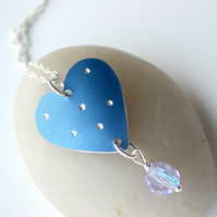 Blue spotty heart pendant with crystal