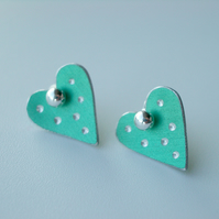 Heart pastel studs earrings in mint green with sparkly dots