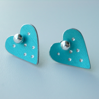 Heart pastel studs earrings in light blue with sparkly dots