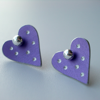 Heart pastel studs earrings in lilac with sparkly dots