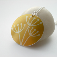 Cow parsley pendant necklace in mustard yellow