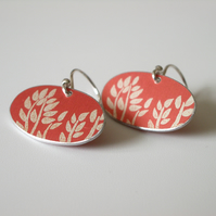 Orange tree print earrings