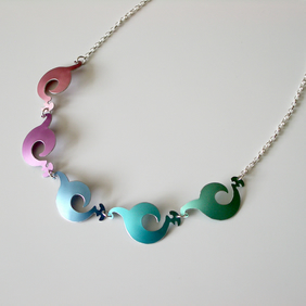 Spiral shapes pastel coloured necklace