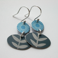 Folk art flower earrings in blue and grey
