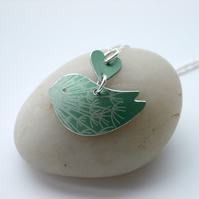 Green bird necklace pendant with dandelion seed print and heart