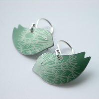 Bird earrings with dandelion clock print in green and silver