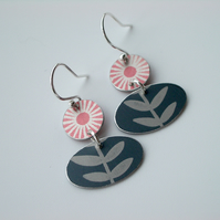 Folk art earrings in orange and grey